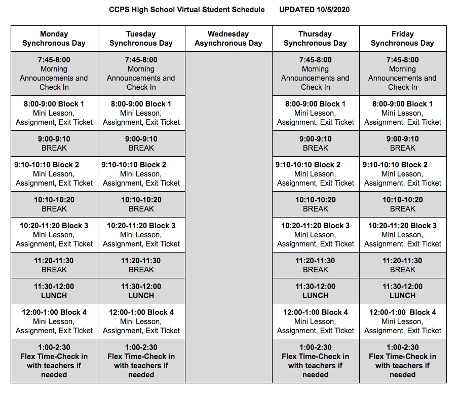 Virtual Student Schedule form